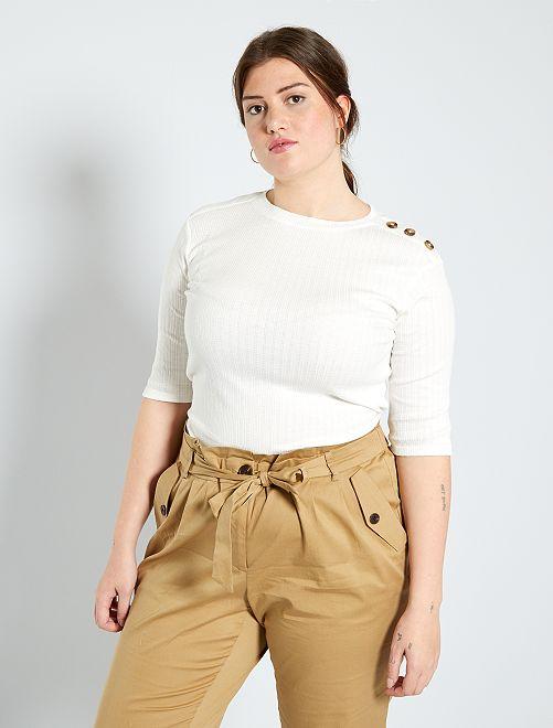 T-shirt boutons épaule                                         blanc