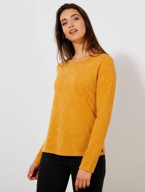 T-shirt boutons fantaisies                                         jaune Femme