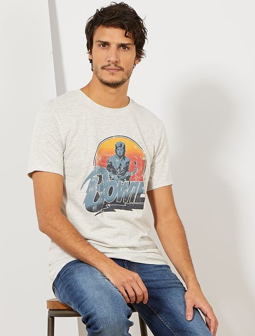 T-shirt 'Bowie'                                                     gris clair chiné