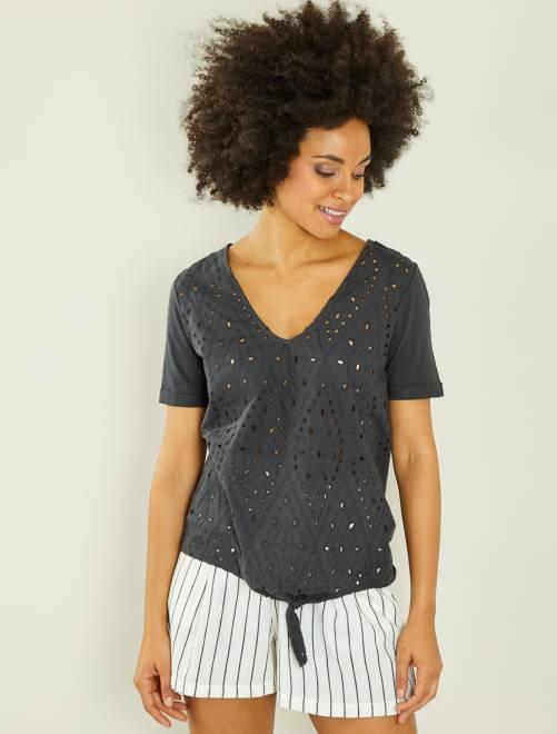 T-shirt brodé à nouer                             gris foncé Femme