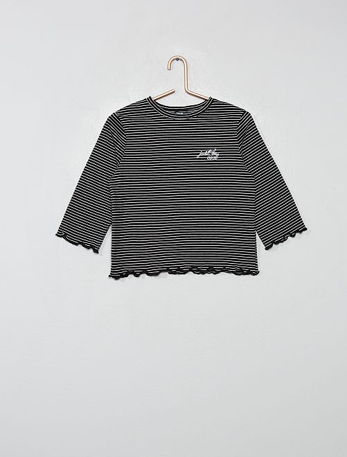 T-shirt brodé à rayures                     NOIR