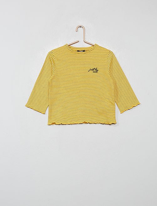 T-shirt brodé à rayures                                         rayé jaune
