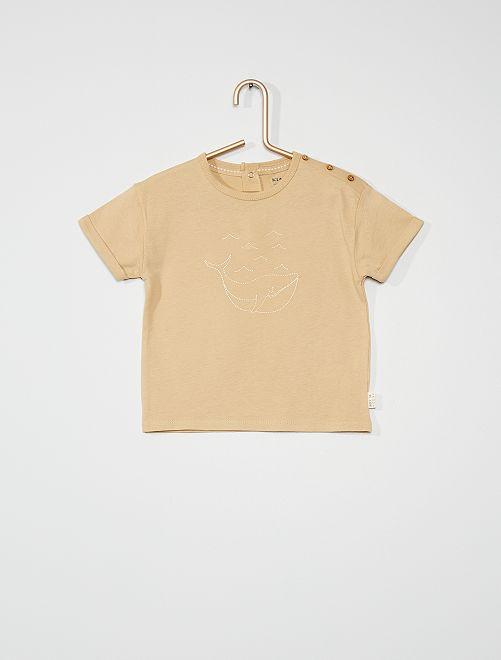 T-shirt brodé baleine                                                                 beige