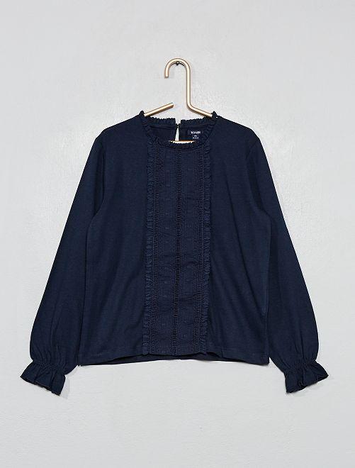 T-shirt brodé                                                                             bleu marine