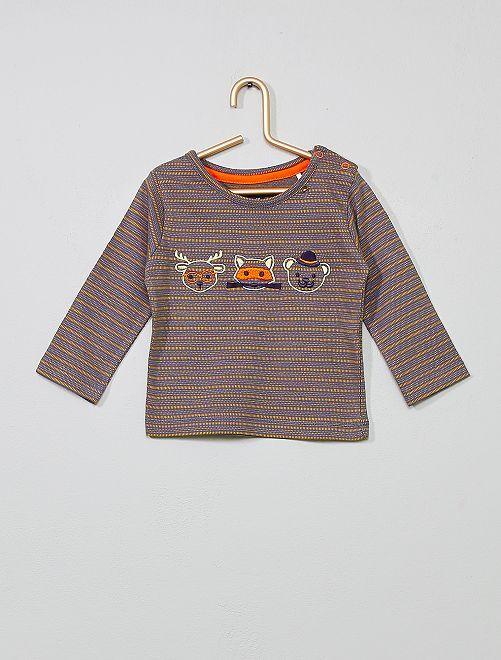 T-shirt brodé coton                             gris/orange