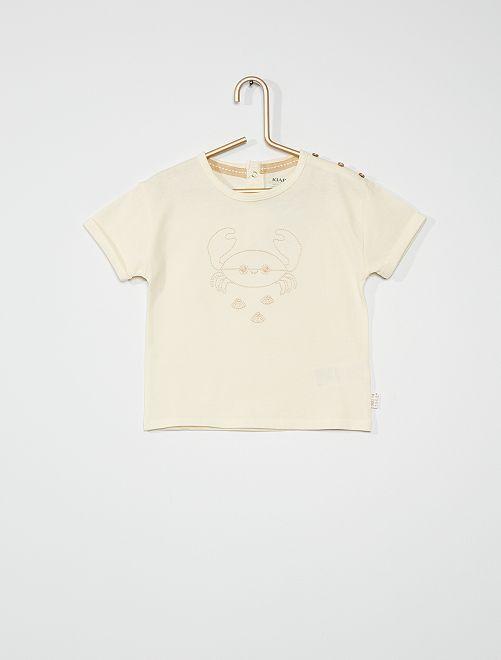T-shirt brodé crabe                                                                 écru