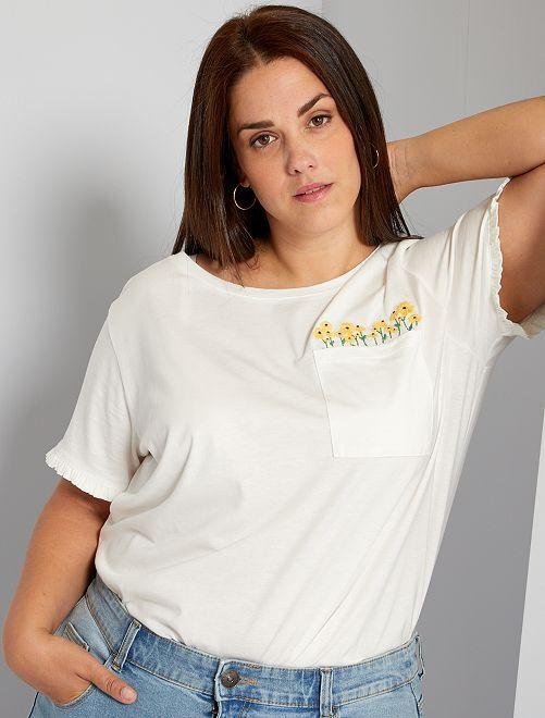 T-shirt brodé de fleurs                             blanc cassé