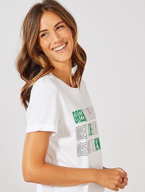 T-shirt brodé 'éco-conception'                                                                 blanc