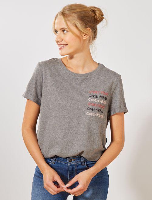 T-shirt brodé 'éco-conception'                                                     gris