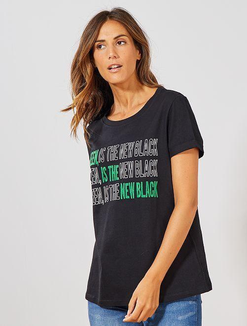 T-shirt brodé 'éco-conception'                                                                 noir