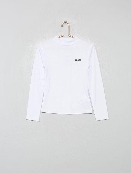 T-shirt brodé en maille côtelée                                         blanc