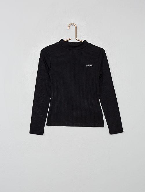 T-shirt brodé en maille côtelée                                         noir