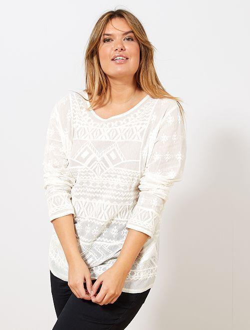 T-shirt brodé en mesh                             blanc