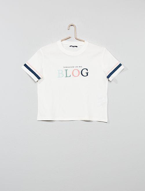 T-shirt brodé en relief                                         écru Fille adolescente