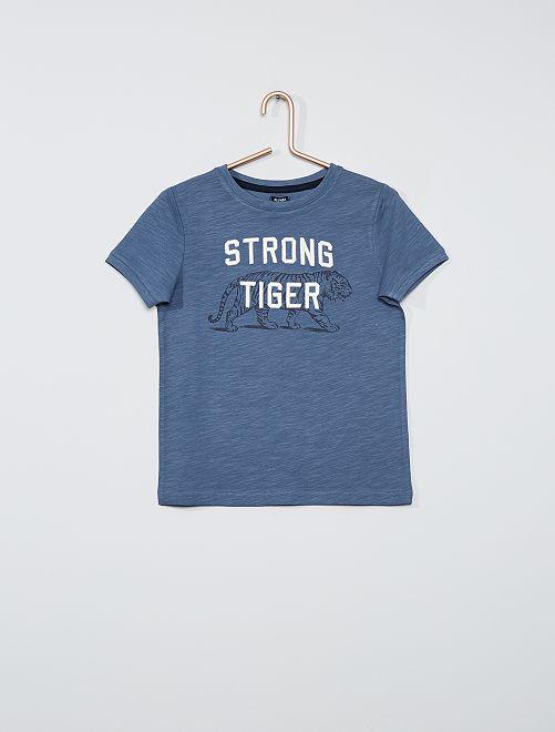 T-shirt brodé et  imprimé                                         bleu