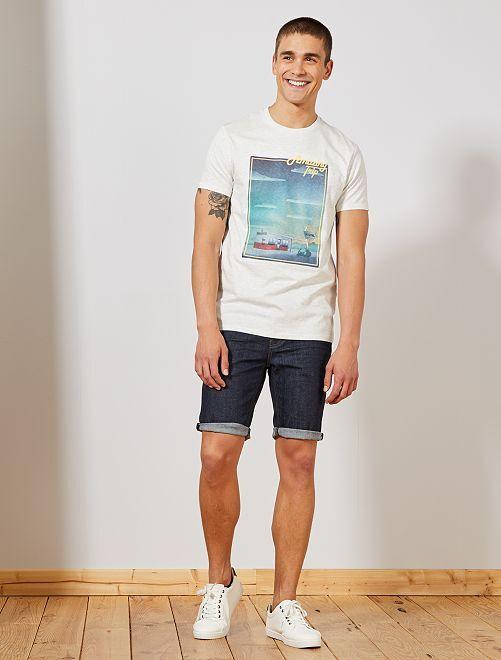 T-shirt brodé et imprimé                                                     écru chiné