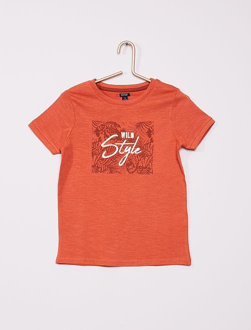 T-shirt brodé et  imprimé                                         orange