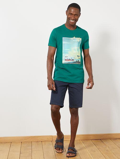 T-shirt brodé et imprimé                                                     vert