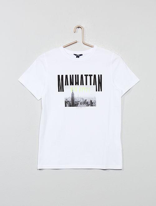 T-shirt brodé imprimé 'Manhattan'                     blanc