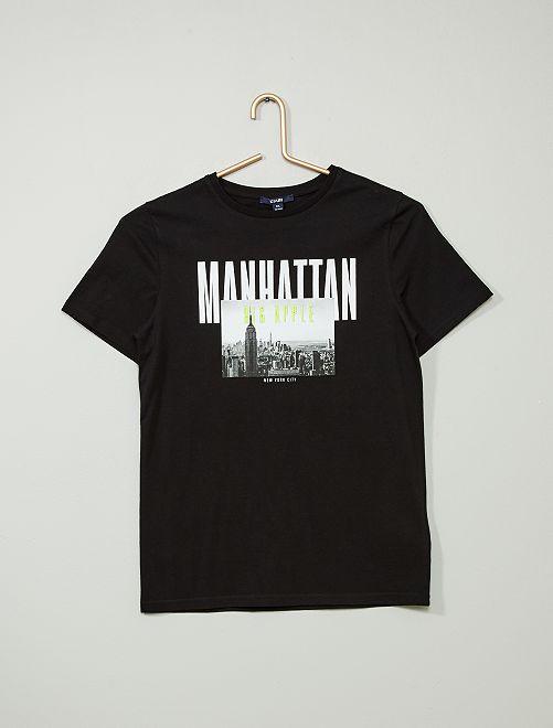 T-shirt brodé imprimé 'Manhattan'                                         noir