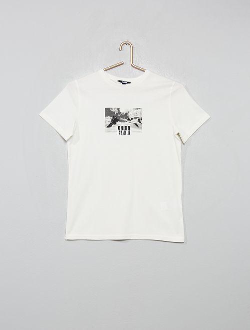 T-shirt brodé imprimé photo                             écru