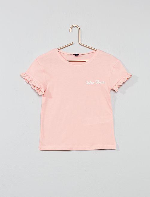 T-shirt brodé 'Jolie Fleur'                             rose Fille