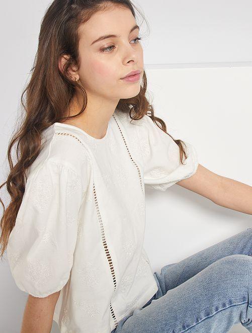 T-shirt brodé manches ballon                             blanc