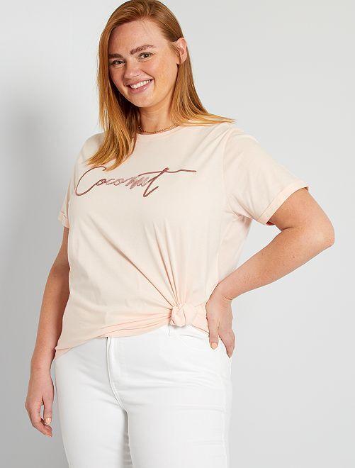T-shirt brodé                                                                 rose pâle