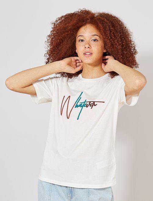 T-shirt brodé 'whatever'                                                                             écru/whatever Femme