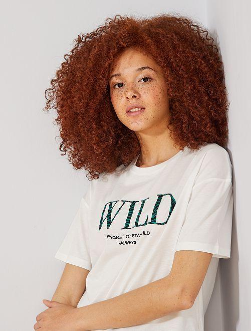 T-shirt brodé 'wild'                                                                             écru/wild