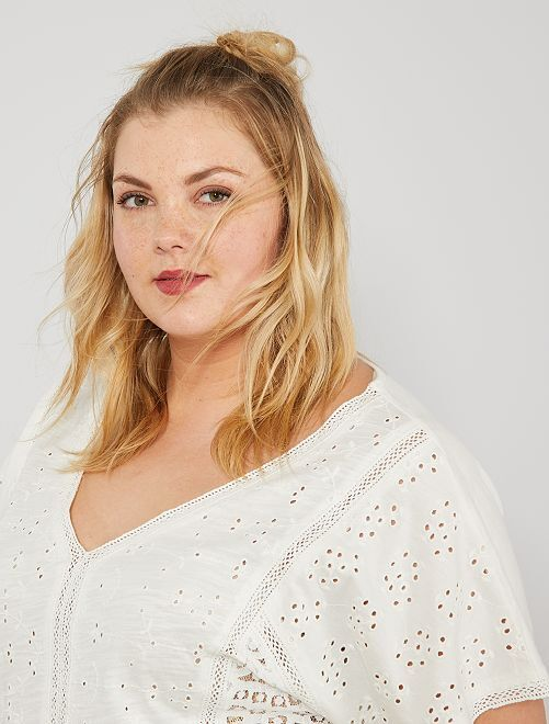 T-shirt broderie anglaise                             blanc Grande taille femme