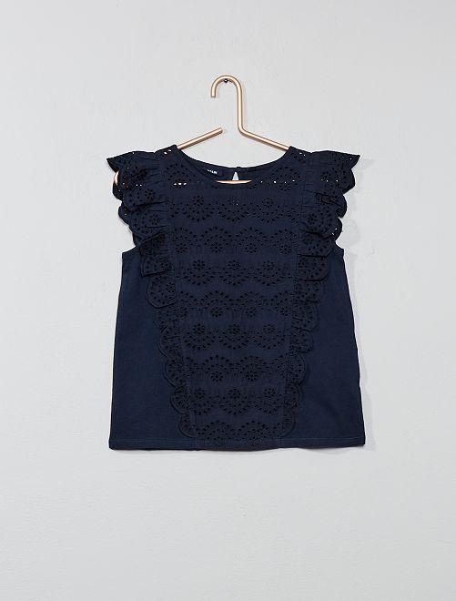 T-shirt broderie anglaise                                                         bleu marine