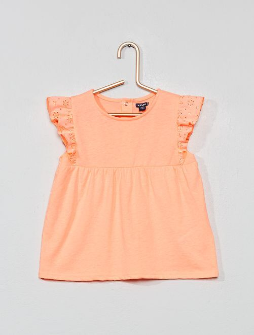 T-shirt broderie anglaise                             corail fluo