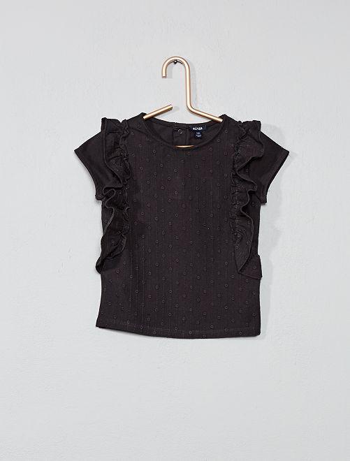 T-shirt broderie anglaise                     gris foncé