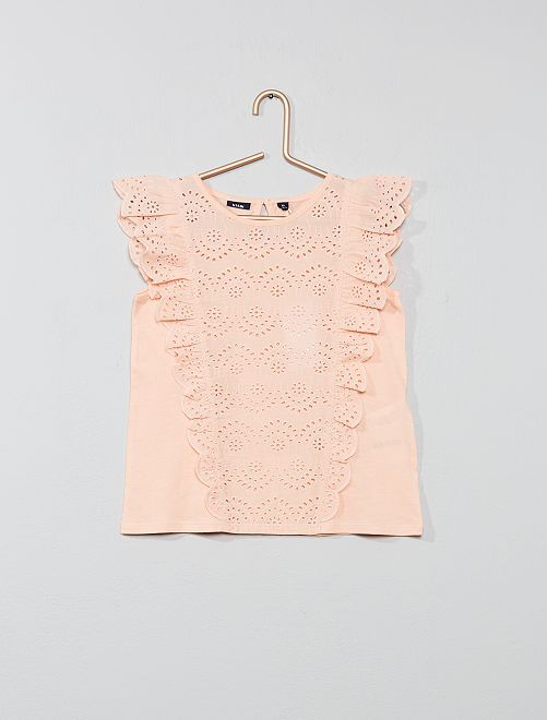 T-shirt broderie anglaise                                                                                         pêche Fille