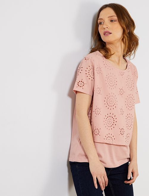 T-shirt broderie anglaise                                                                 rose clair Femme