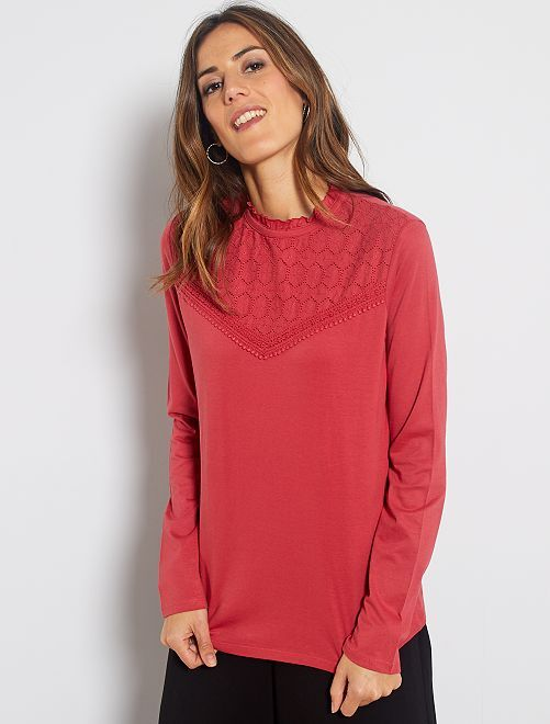 T-shirt broderie anglaise                                                                             rouge grenat