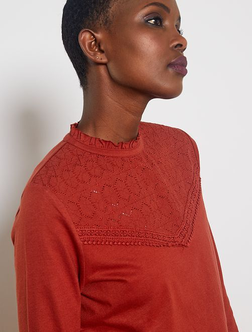 T-shirt broderie anglaise                                                                             rouille