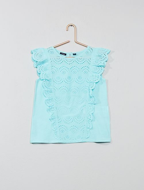 T-shirt broderie anglaise                                         turquoise