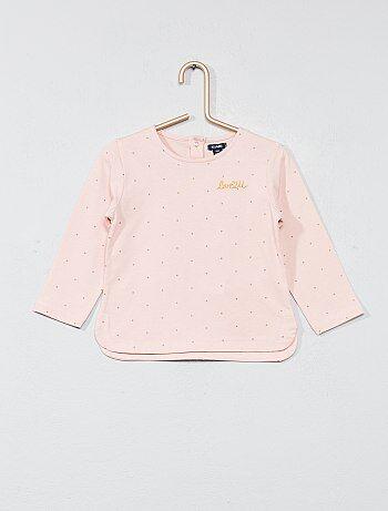T-shirt broderie poitrine - Kiabi