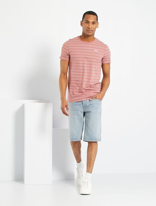 T-shirt broderie poitrine                                                                 rose/gris