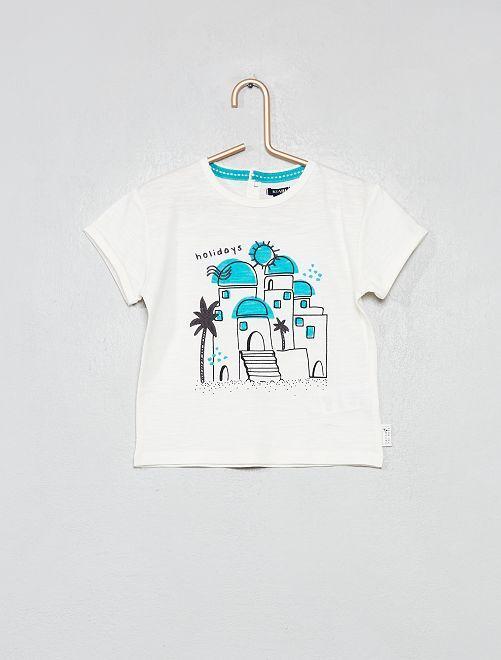 T-shirt broderie ville                             écru