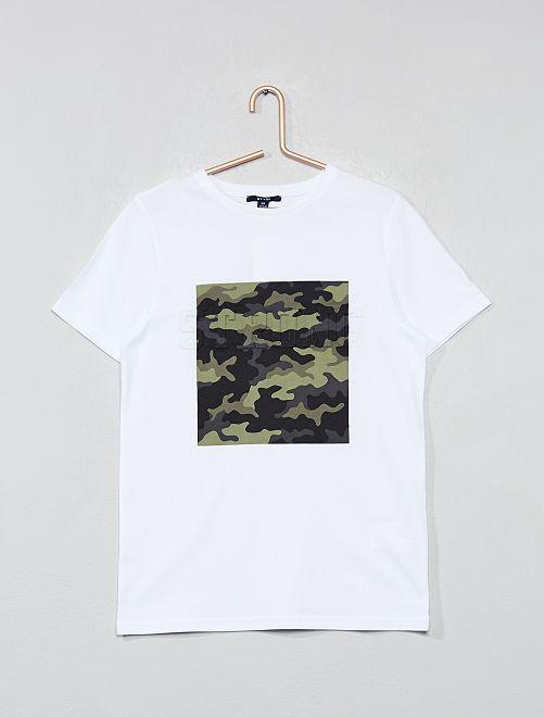 T-shirt camouflage                             blanc Garçon adolescent