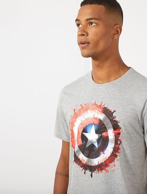 T-shirt 'Captain America'                             gris chiné