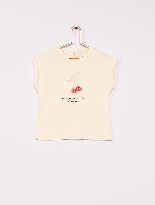 T-shirt 'cerise' éco-conçu                                                     écru