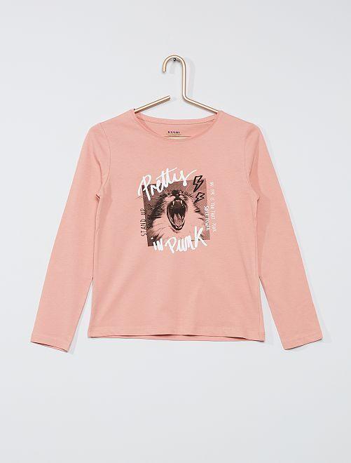 T-shirt 'chat' éco-conçu                                                                                                                 rose chat