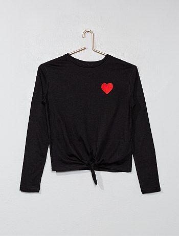 Fille 10-18 ans - T-shirt cœur brodé - Kiabi