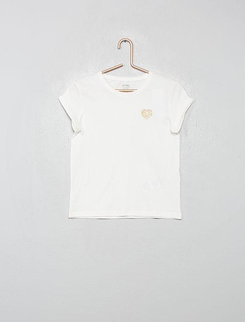 T-shirt cœur 'éco-conception'                                                                 écru