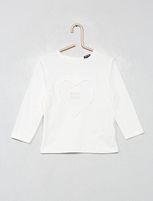 T-shirt 'cœur'                             écru