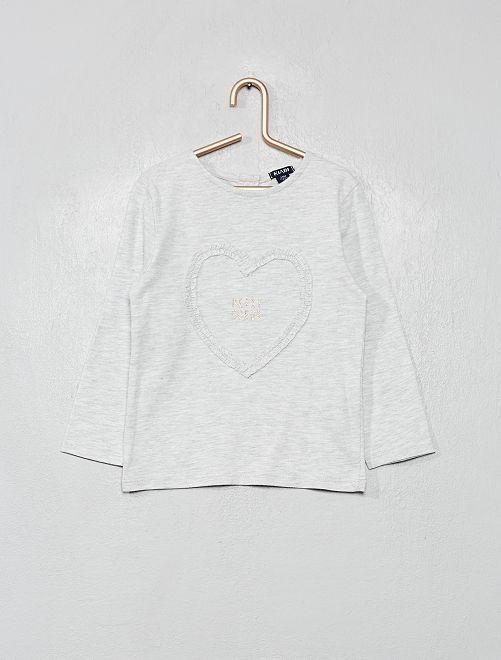 T-shirt 'cœur'                                                                 gris chiné
